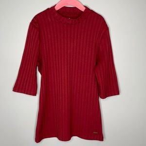 Hollister burgundy mock neck ribbed tight fit stretch short sleeve top Small